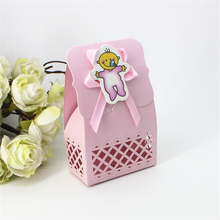 Lovely Baby Shower Event Party Supplies Decoration Paper Accessories Baptism Pink Kid Favors Gifts Sweet Birthday Bag Candy Box