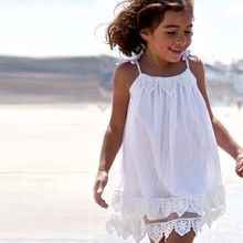 White Toddler Kids Baby Girls Lace Princess Girl Pageant Wedding Dresses Summer Tulle Chiffon Sundress Beach