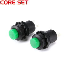 10Pcs/Set Round Switch Button 250V/1.5A Light Switch Self-locking DS-428 DIY Touch Switch Green