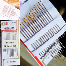 16PCS/Bag Tail Gold Plated Stainless Steel Hand Sewing Needles Paper Box Package Home DIY Sewing Combination