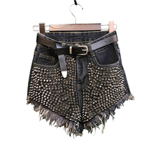 Cotton Women Short Jeans Punk Sexy High Waist Denim Shorts Ladies Rivet Novelty Shorts Tassel Ripped Loose Shorts Free Top Gift(China)