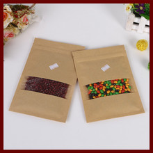 12*20 100pcs brown self zip lock kraft paper bags with window for gifts sweets and candy food tea jewelry retail package paper