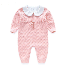 New Baby Rompers Knitted Jumpsuit Cotton Coveralls 2016 Boy Girl Romper Solid Infant Apparel Spring Autumn Clothes Baby Clothing