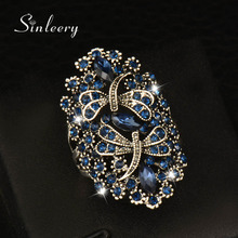 SINLEERY Vintage Hollow Blue Rhinestone Dragonfly Rings Women White/Yellow Gold Color Big Finger Rings Brand Jewelry JZ565