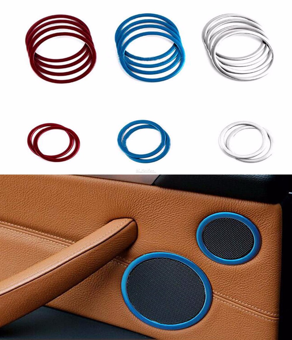Chrome Interior Door Speaker Audio Cover Ring Trim Decoration For BMW X5 X6 E70 E71 2014 2015 Car Styling<br>