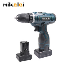 NIKALAI 25V Two speed rechargeable lithium battery*2 hand electric drill bit driver charger cordless drill electric screwdriver