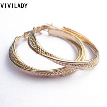 VIVILADY Fashion 12 Pairs/lot UK USA Hot Sales Gold Color Hoop Earrings Nickel Lead Free Multilayered Pattern Women Bijoux Gift(China)