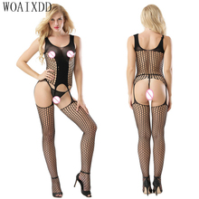 Latest New Fashionable Women Exotic Cheap Bodystocking Ladies Paper Elastic Neon WOAIXDD Sexy Bodystocking Crotchless Catsuit(China)