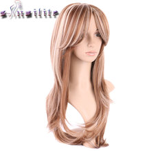 S-noilite 100% Real Thick 260g 180% Density None Lace Front Wigs Synthetic Hair Heat Resistant Fiber Two Tone Wig Brown Blonde(China)