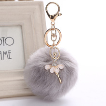 ZOEBER Gold Key Chain Pom Pom Key Rings Fake Rabbit Fur Ball KeyChain Pompom Angel Girl Fourrure Pompon Women Bag Charms Jewelry(China)
