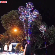 Popular Creative LED Luminous Helium Air Balloon Round Wave Ball Couple balloon Party Supplies Fsetival Outdoor Decorations9z(China)