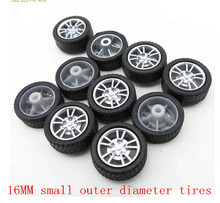 40PCS free shipping 16MM mini rubber wheel four-wheel drive wheel DIY toy small production plastic wheel model Technologies(China)