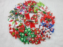 3inch Christmas Hair Ribbon Bows WITH CLIP for Christmas Party Decoration Boutique Ribbon Bows for Christmas 12pcs/lot