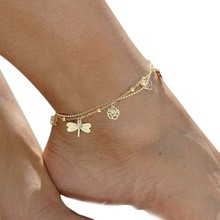 LNRRABC Foot Jewelry Bead Chain Anklets Bracelets Dragonfly Aolly Crystal Gold Color Barefoot Sandal Beach Jewelry For Women