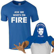 Ask Me Who's On Fire T-Shirt Jamie Vardy -Fan Chant Mens Gift Flip Top
