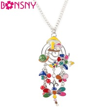 Buy Bonsny Maxi Alloy Elephant Bird Duck Necklace Chain Enamel Jewelry Colorful Pendant New Fashion Jewelry Women Statement for $6.75 in AliExpress store
