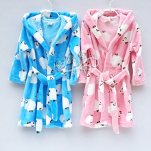 High quality Children's bathrobe Winter baby soft velvet robes Kids dressing gown Cartoon Teenage boy girl Coral velvet pajamas(China)