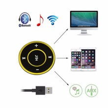 Hands-free Wireless Bluetooth Media Remote Button A2DP Audio Receiver Adapter Stereo  with 3.5mm AUX Jack for Headset Car
