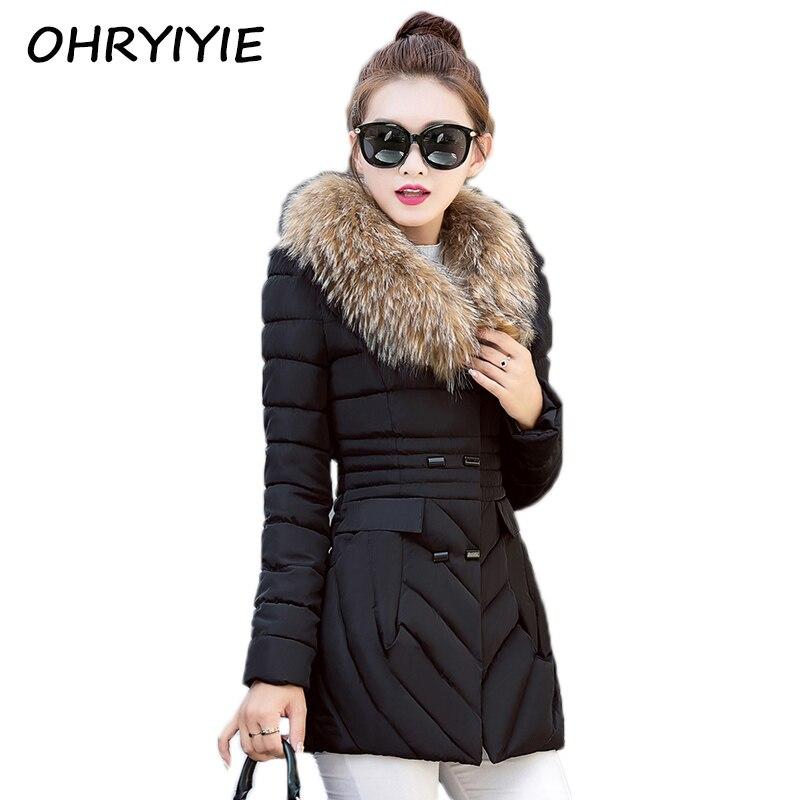OHRYIYIE 2017 Snow Wear Wadded Jacket Female Autumn Winter Jacket Women Slim Cotton-padded Jacket Outerwear Winter Coat WomenÎäåæäà è àêñåññóàðû<br><br>