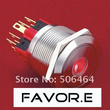 Stainless steel 25mm IP65 5A/250VAC dot illuminated 2NO 2NC Latching LED metal Push Button light Switch Flat round