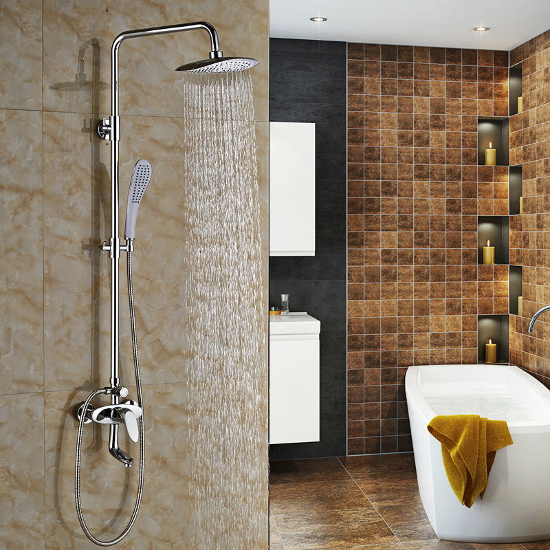 Polished Chrome Luxury Surface Mount Shower Faucet 8 Rainfall Shower Mixer Taps with Handheld Shower<br><br>Aliexpress