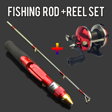 2 Sections Mini Ice Fishing Rod Kit Bait Casting Reel Winter 50cm Mini Ice Fishing Pole Blue or Red Wheel for Carp Bass Pesca(China)