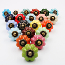 One Piece Vintage Pastoralism Pumpkin Ceramic Knob, Colorful Kitchen Ceramic Door Cabinets Cupboard pulls handles(China)