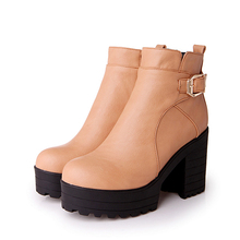 British college style comfortable round toe ankle boots fashion belt buckle zip platform high heel equestrian boots women shoes