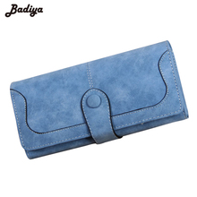 Women's Fashion Trend Purses Matte PU Leather Buckle Multicolor Female Long Wallets Large Capacity Coin Bag Card Holder