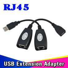 High Speed black Mini USB RJ45 Cable Adapter Extension Extender Adapter Up To 150ft Using CAT5 LAN Cable