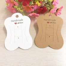 200pcs Kraft Paper Hair Clip Cards Handmade With Love Hairpin/Hair Accessory Packaging Cards Headdress/Jewelry Display Cards(China)