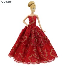 Fashion Red Dress Wedding Party Gown Bride Strapless Skirt Princess Evening Suit Clothes For Barbie FR Kurhn Doll Accessories