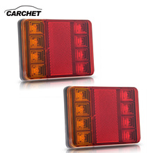 CARCHET 2PCS Waterproof 8 LED Taillights Red Yellow Rear Tail Light DC 12V for Trailer Truck Boat Car Styling Warning Light(China)