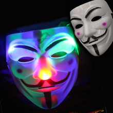 2016 LED V For Vendetta Guy Fawkes Masks  Anonymous Halloween Cosplay Fancy Dress Costume Party Scary Latex Mascara no battery