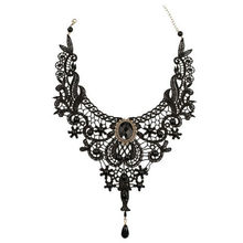 Gothic Victorian Lace Choker Necklace Sexy Hollow Black Metal Cameo Jewel Steampunk Cosplay