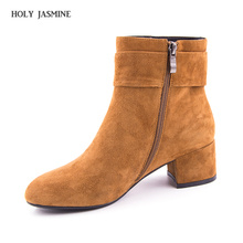 HOLY JASMINE 2017 Shoes Women Boots Natural Kid Suede Ankle Boots High Heel Tassel Boots Zip High Quality Fashion Boots Discount(China)