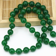 Fashion Malaysia green jades natural stone chalcedony 10mm round beads necklace for women choker chain diy jewelry 18inch B3202(China)
