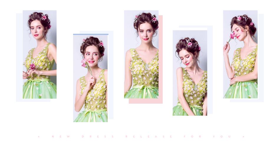 Angel Wedding Dress Marriage Bride Bridal Gown Vestido De Noiva 2017Soft powder, Qingjian Lvxian beauty, petals, green 9718 2
