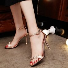 New Sexy Women Crystal Sandals Pink Gold Silver Ladies High Thin Heel Fashion Shoes Open Toe Sandals 2667