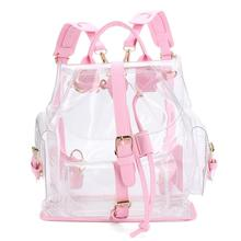 Xiniu Woman Backpack Women's Clear Plastic See Through Security Transparent Backpack Bag Travel Bag Mochilas Feminina #240(China)