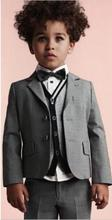 Custome Homme gray Kid's Suits Cute Wedding Boy Suits Handsome Fashion Tuxedos Formal Classic Blazer (Jacket+Pants+Bowtie+Vest)