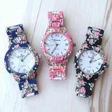 Hot 2015 New Nation Wind Women's Geneva Floral Print Ceramic Style Watches Analog Quartz Wrist Watch(China)