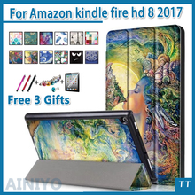For Amazon 2017 New Kindle Fire HD 8 Painted Print PU Leather Flip Smart Cover Case For kindle fire hd8 2017 new + free 3 gifts(China)