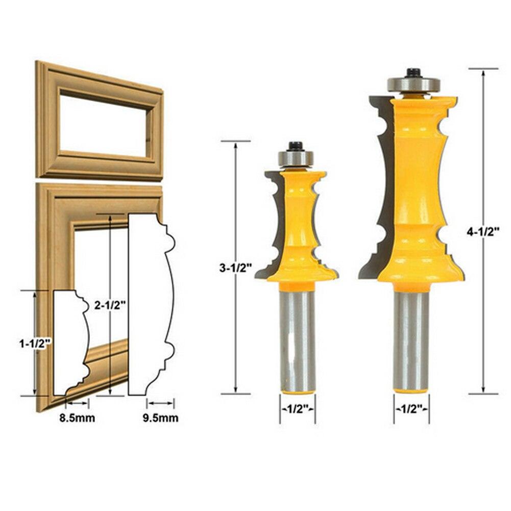 2Pcs Woodworking Milling Cutter Router Bit Set 1/2 Shank Mitered Door &amp; Drawer Panel Molding Router Bit Set <br>