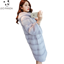 2018 New Autumn Winter Women High Imitation Mink Faux Fur Coats High Quality Coat Temperaments Long Sleeve Parkas Jacket LXT744(China)