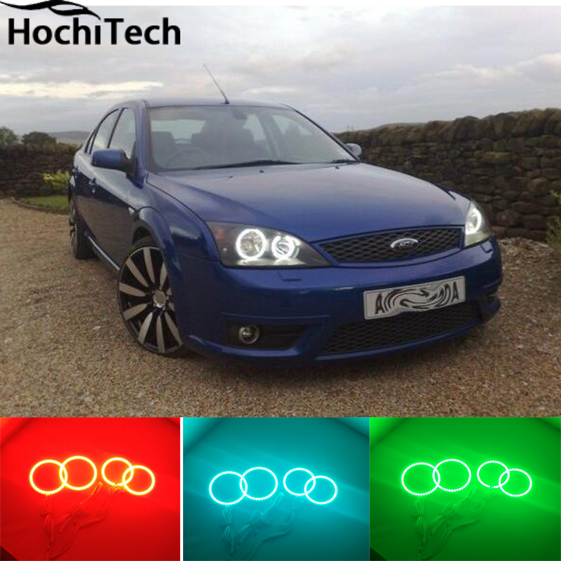 For FORD Mondeo MK3 RGB LED headlight halo angel eyes kit car styling accessories 2001 2003 2004 2005 2006 2007<br><br>Aliexpress