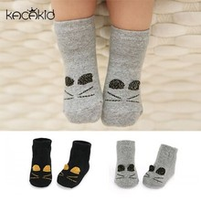 DHL EMS Free Shipping Wear Lovely Baby Girls Boys Black Grey Short Socks Cat Socks infants Toddlers Winter Autumn New ! Kacakid