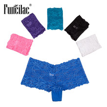 Buy FUNCILAC Women Boxers Underwear Sexy Lace Panties Shorts Boyshort Knickers Intimates Lingerie Ladies 5pcs/lot