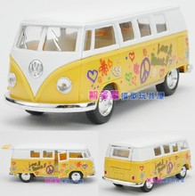 Candice guo! New arrival Kinsmart super cool 1:32 mini classical print bus car alloy model car toy 1pc