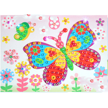 1pcs/lot 19*26cm Artificial diamond Sticker puzzle Electronic Handmade 3D Education classic drawing toys for children Notebook(China)